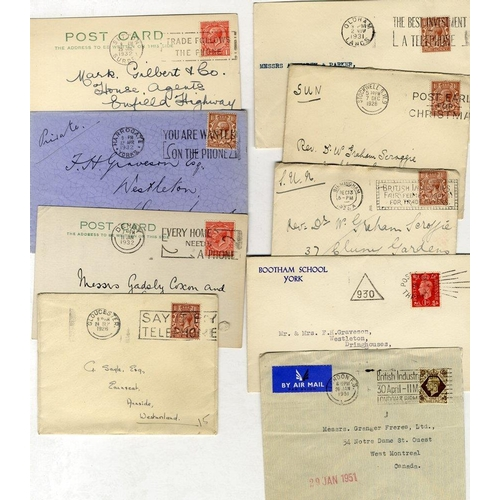1692 - SLOGAN POSTMARKS KGV-KGVI period accumulation of covers or stamps cut out on piece, tied by slogan p...