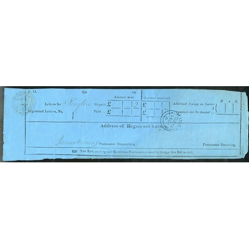 1700 - 1851 reg letter receipt, cancelled by a blue Kington De.18.1851 c.d.s. Early & scarce. (1)...