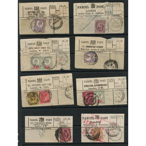 1701 - 1894-1918 PARCEL POST LABELS selection of 18 from London bearing various stamps, some duplication, m...