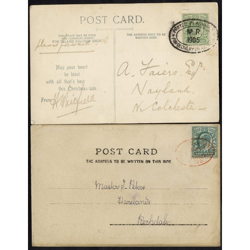 1703 - 1902 PPC franked Edward ½d, tied small oval (Type1) in red 'Posted in Advance for Delivery on Christ...