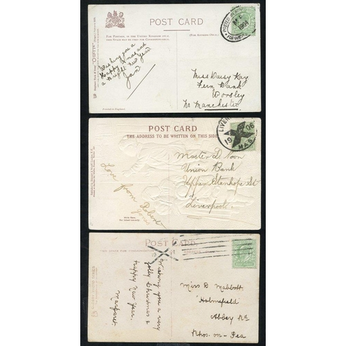 1704 - 1904-07 POSTED IN ADVANCE FOR DELIVERY ON CHRISTMAS DAY 3x PPC's franked ½d Edwards, cancelled 1904 ...