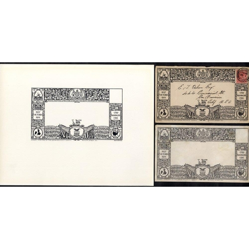 1705 - 1908 Junior Philatelic Society Penny Envelope black & white proof, unused envelope & used envelope f...