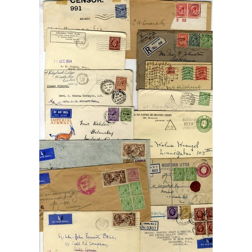 1706 - 1911-38 miscellaneous range of covers with KGV frankings to overseas destinations incl. Australia, B...