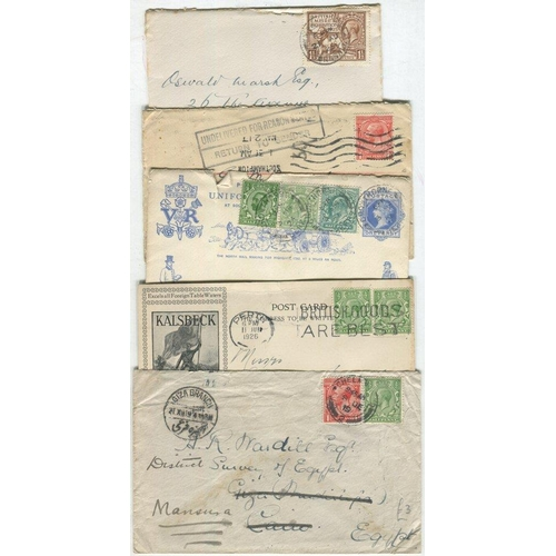 1707 - 1912-30's range of covers or postcards (131) incl. advertising, c.d.s's, squared circles, rubbers, s...