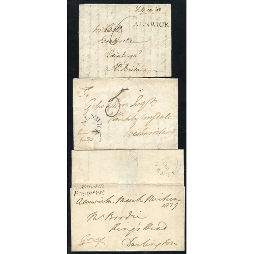 1708 - ALNWICK 1767-1858 a superb range of covers neatly written up on leaves incl. 1767 & 1775 straight li...