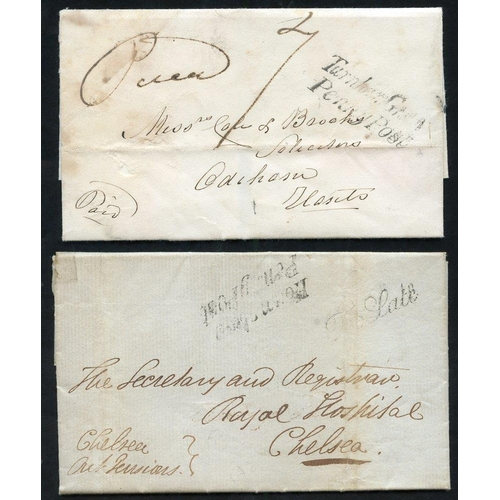 1713 - LONDON 1838-43 entire letters & covers carried by the London Cross Post, h/stamps incl. Penny Post m...