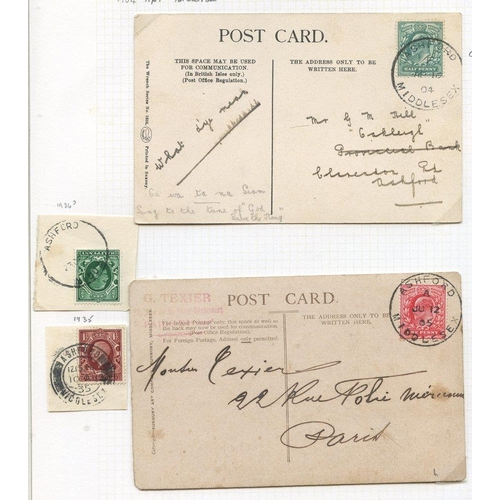 1714 - MIDDLESEX (Ashford) 1881-1963 covers & cards (21), parcel post labels (3), and pieces (14) incl. ske...