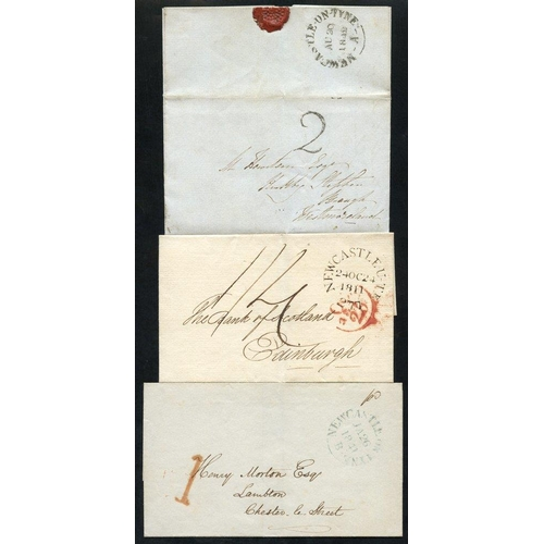 1715 - NEWCASTLE UPON TYNE 1825-47 range of 10 covers neatly written up on leaves incl. 1825 'TOO LATE', 18...