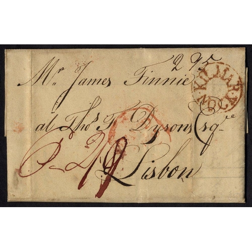 1718 - 1807 entire letter to Lisburn bears fine circular KILMARNOCK mark in red, obverse bears London 'Paid...
