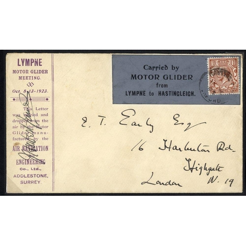 1719 - 1923 Oct 13th Motor Glider flight Lympne - Hastingleigh special cover, pilot signed (one of only 20 ...