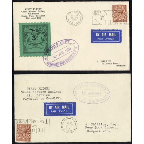 1721 - 1933 GREAT WESTERN RAILWAY Air Service first flight Plymouth - Cardiff flown cover with parcels dept...