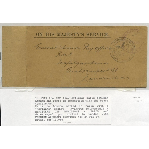 1723 - 1919 Feb 24th RAF flown cover during Peace Conference Paris - Kenley Aerodrome, London, French cache...