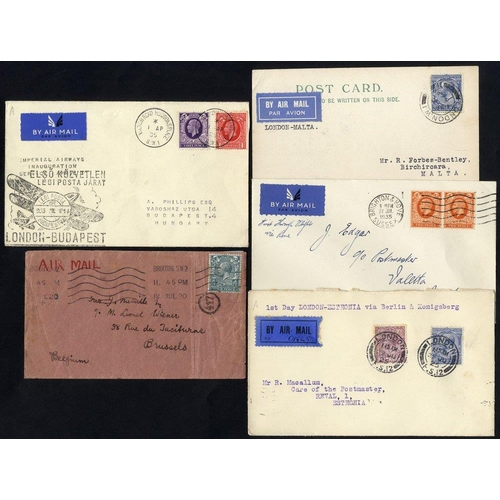 1724 - 1920-35 five airmails comprising 18th July 1920 London - Brussels airmail by Handley Page, July 29th...