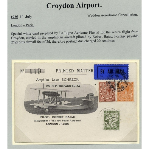 1725 - 1925 July 1st BAJAC flight Waddon Aerodrome London - Paris special card, carried in the amphibian ai...