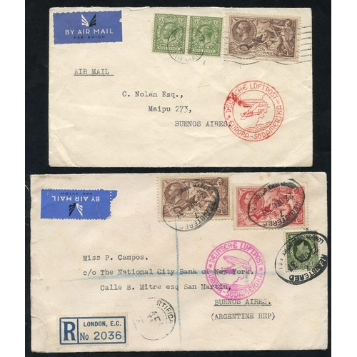 1726 - 1936-37 airmails covers to Buenos Aires (2) - first franked 9d defin (2) & 2/6d Re-engraved, tied Lo...