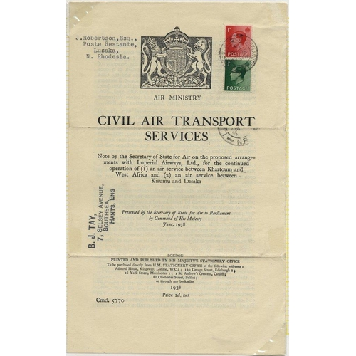 1728 - 1938 June 30th GOVERNMENT WHITE PAPER flown Southampton - Lusaka, Northern Rhodesia paper concerning...