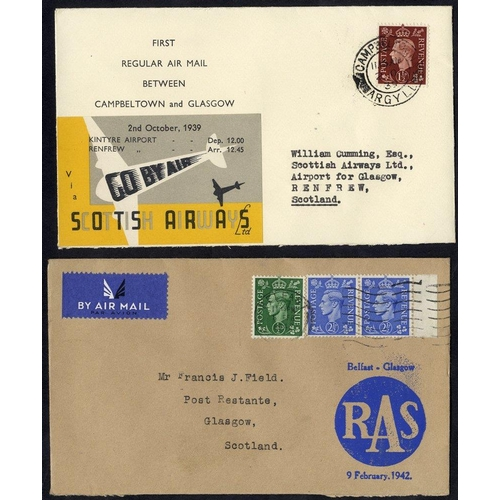 1729 - 1939 Oct 2nd Scottish Airways first flight Campbeltown - Glasgow official cover with special label (...