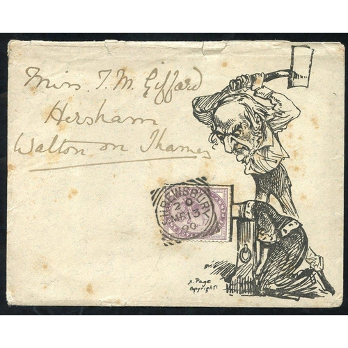 1730 - 1890 envelope to Walton on Thames franked 1d lilac affixed to the 'Gladstone chopping Queen Victoria...