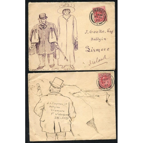 1731 - 1903 two envelopes sent Swansea to Lismore, Ireland, each franked 1d Edward, both with pen & ink han...