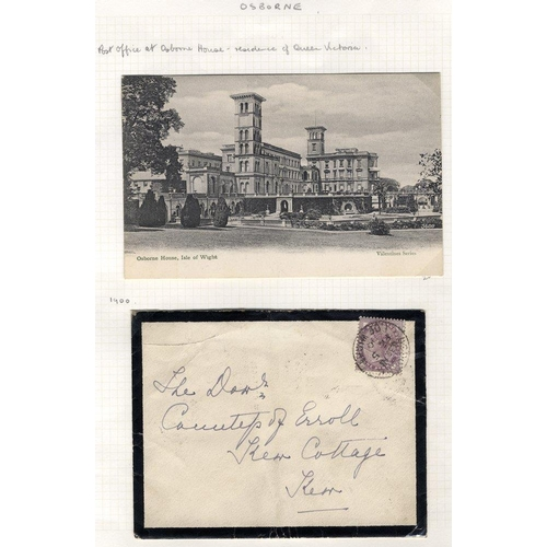 1734 - Osborne 1d lilac mourning envelope cancelled by the scarce Osborne Isle of Wight Fe.5.00 c.d.s (only...
