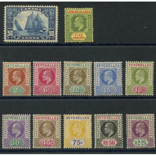 174 - BRITISH COMMONWEALTH - Canada 1928 50c bluenose, M (minor tone patch), SG.284, Leeward Islands 1907 ...