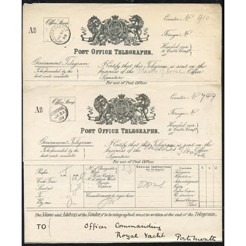 1741 - 1897 & 1899 Royal Telegrams (2), one with Windsor Castle My.1.97 c.d.s. to the Duke of Connaught, th...