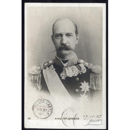 1742 - 1905 PPC showing the King of Greece during his visit to England (he arrived on Nov 13th) cancelled a...