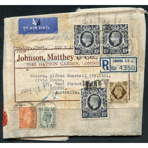 1743 - AUSTRALIA c1939 cloth outer wrapping from Johnson Matthey reg from London to Sydney, Australia with ...
