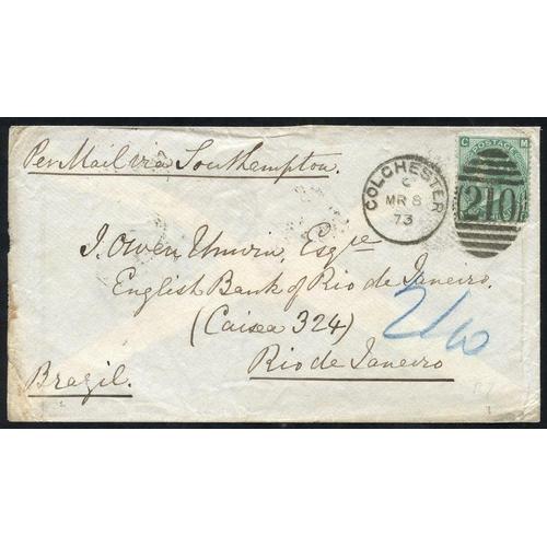1744 - BRAZIL 1873 cover to Rio de Janeiro, franked 1s green Pl.7 (SG.117) tied fine Colchester duplex, rev...