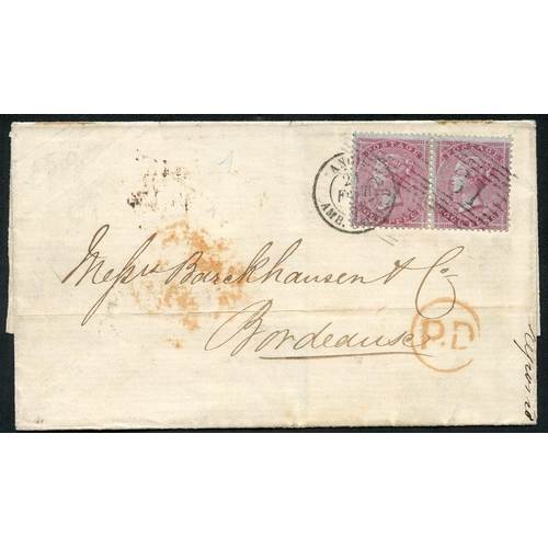 1745 - FRANCE 1856 cover from Scotland to Bordeaux, franked 4d carmine on highly glazed paper Wmk Small Gar...