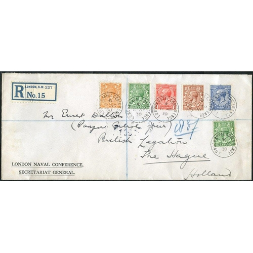 1746 - HOLLAND 1930 reg envelope from the London Naval Conference Secretariat General, bearing KGV ½d (2), ...