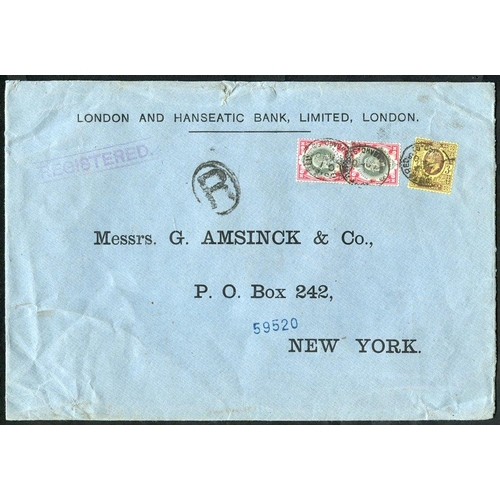1748 - UNITED STATES 1905 reg cover from London to New York, franked KEVII 3d, 1s (pair), tied Lombard St. ...