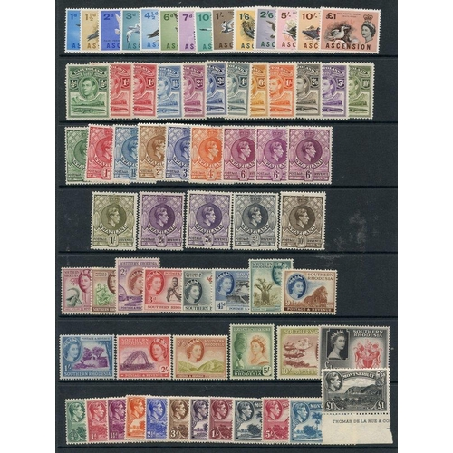 175 - BRITISH COMMONWEALTH M defin sets - Ascension 1963 set, Basutoland 1938 set, Montserrat 1938 set, So...