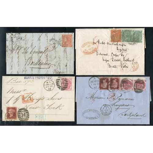 1751 - 1866-73 four covers comprising 1866 to Lugano, Switzerland, franked 1d Plates (2) & 3d Pl.4 (pair), ...