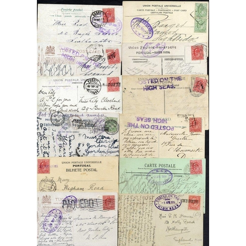 1753 - Range of postcards mainly franked with Edwardian 1d with a variety of PAQUEBOT or POSTED ON THE HIGH...