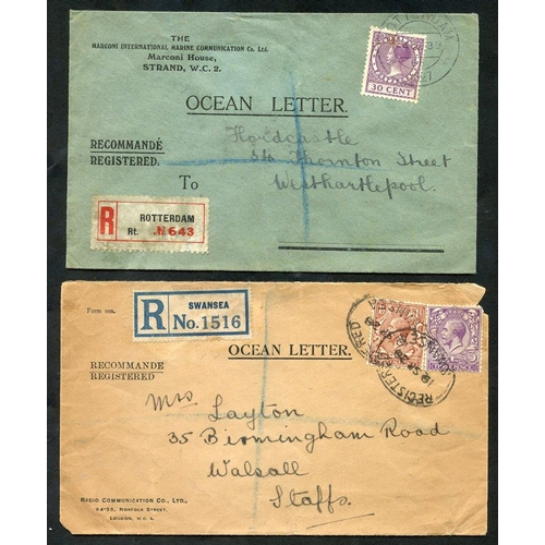 1757 - 1927 & 1928 OCEAN LETTERS (2) printed envelopes registered from Rotterdam to W. Hartlepool, another ...