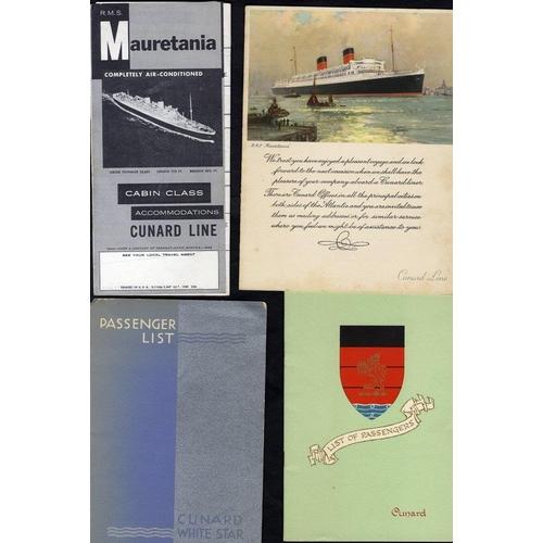 1758 - CUNARD WHITE STAR LINE 1930's-50's good Mauretania, Queen Mary, Queen Elizabeth, Caronia, Britannic,...