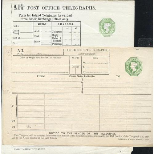 1760 - QV P.O Telegraphs 1s dies (2), Huggins TP10 & TP38, VF....