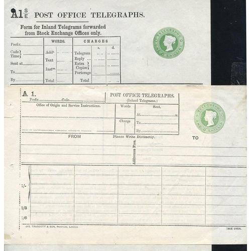 1762 - QV P.O Telegraphs 1s dies (2), Huggins TP76c (Cat. £75) & Stock Exchange TP35c (Cat. £150), good to ...