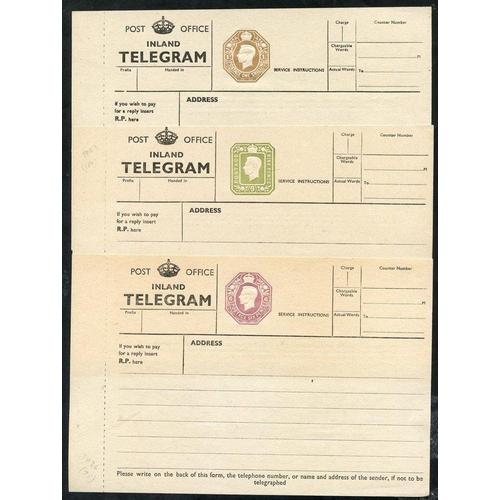 1770 - KGV P.O Inland Telegraph 6d, 9d & 1s dies TP26 (Cat. £75), TP27 (Cat. £150), TP28 (Cat. £75), very f...