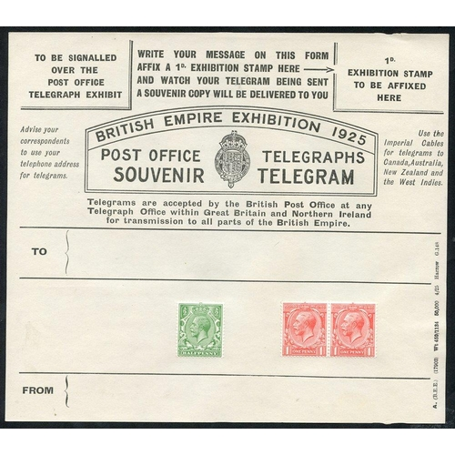 1773 - 1925 Wembley Exhibition unused souvenir telegrams (2). The black form with additional ½d & 1d (2) KG...