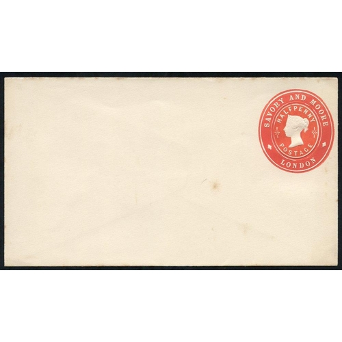 1777 - Advertising Rings QV ½d vermilion Savory & Moore, London envelope unused, minor tones, Huggins AR132...