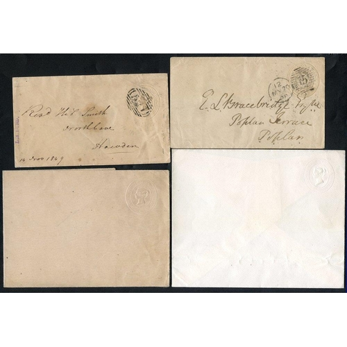 1779 - QV (6) & KEVII (1) selection of albino (missing colour) dies on envelopes, 1d pinks - two unused, tw...