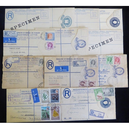 178 - BRITISH CENTRAL AFRICA with Rhodesia & Nyasaland 19th/20thC group of reg postal stationery envelopes...