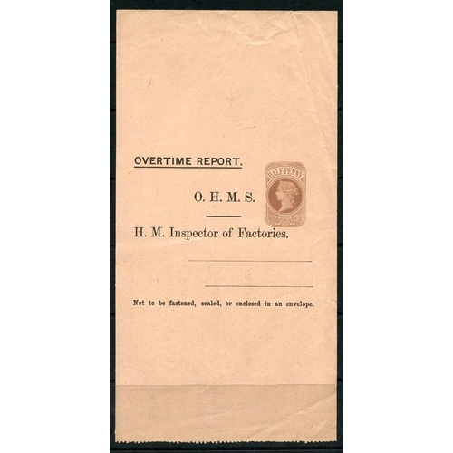 1780 - QV ½d brown unused wrapper headed 'Overtime Report' H.M Inspector of Factories, Huggins LO74c (XXXX)...