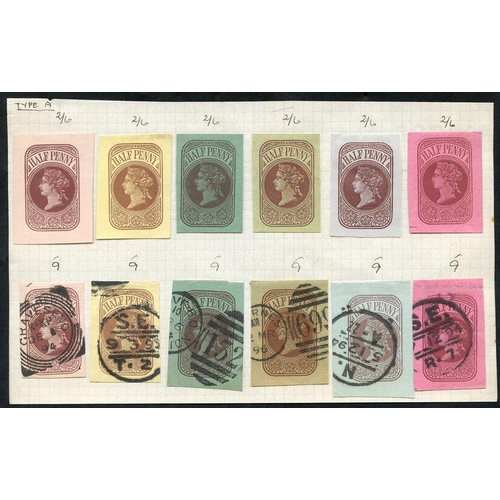 1781 - QV ADMIRALTY CUT-OUTS selection of twelve ½d dies on various papers, six used, Huggins LO7O A-F (Cat...