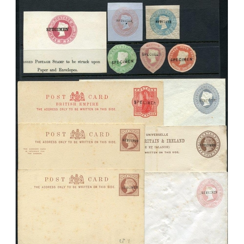 1783 - QV selection of 16 unused postcards, envelopes, registered letter optd SPECIMEN plus 6 pieces. Mixed...