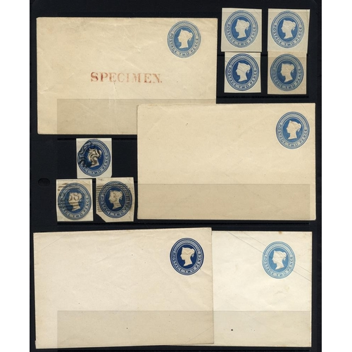 1784 - QV selection of 4 unused 2d undated die envelopes with silk threads, light blue, blue & dark blue - ...