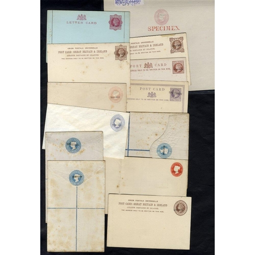 1786 - QV SPECIMEN items selection of 16 incl. 1d pink lettersheet with large SPECIMEN in red + 15 cards/en...