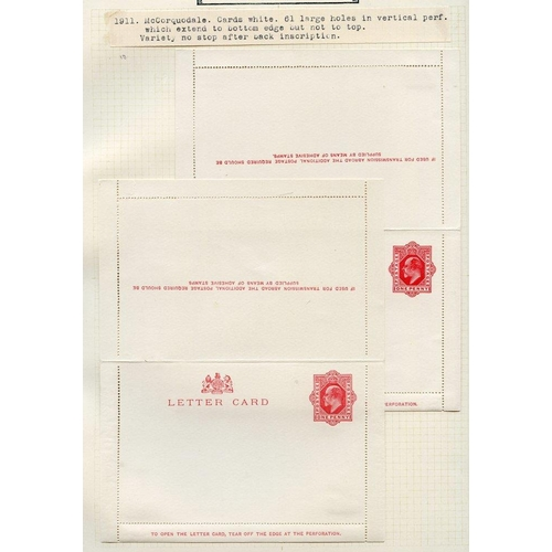 1787 - QV-KEVII selection of 90 unused postcards/letter cards plus three wrapper bands, neatly hinged to wr...